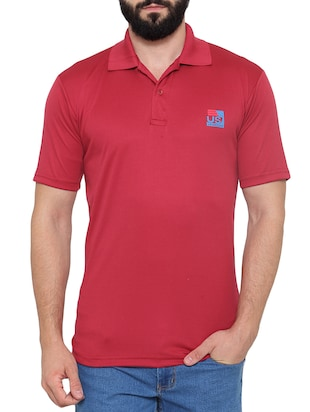 solid red polyester polo t-shirt