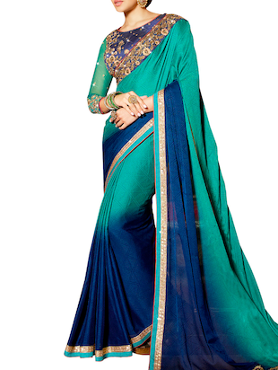 Green Faux Georgette ombre saree