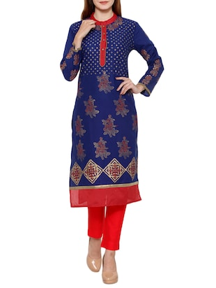 blue cotton blend straight kurta