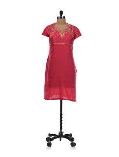 Red Embroidered Kurta - Aurelia