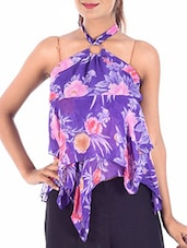 purple floral printed polyester top -  online shopping for Tops