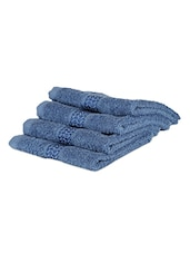 Blue Plain Cotton Set Of 4 Face Towels - By