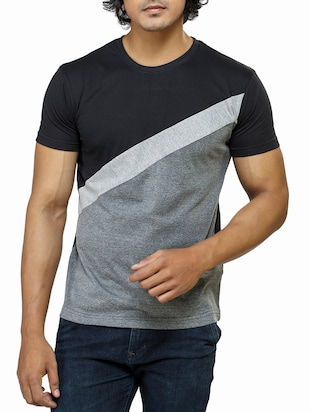 multi colored colour block cotton t-shirt -  online shopping for T-Shirts