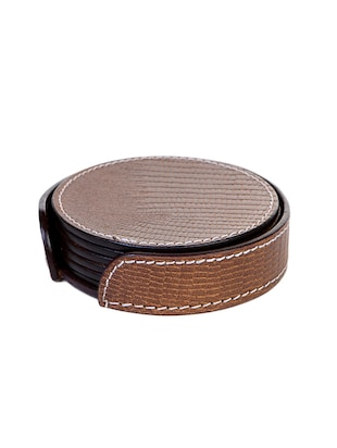Brown Leather Coaster (Set of 6)