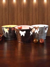 Set Of 3 Candle Votive With Butterfly Cutwork - By
