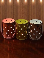 Set Of 3 Candle Votive With Heart Cutwork - By