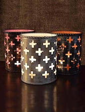 Set Of 3 Candle Votive With Cutwork - By