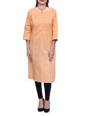 Orange Cotton Long Kurta - By