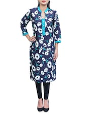 Black With Green Cotton Long Kurta - By
