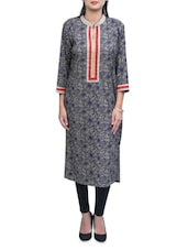 Burly Wood Shade With Black Cotton Long Kurta - By