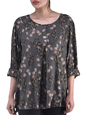Brown Printed Polyester Top With Button Closure - By