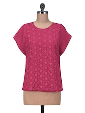 Dark Pink Embroidered Polyester Top - By