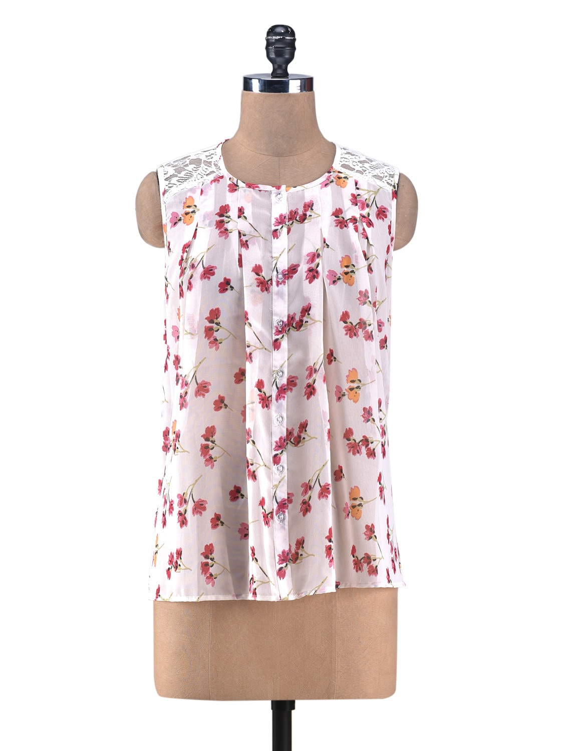 Peach Printed Gathered Top With Lace Yoke - By