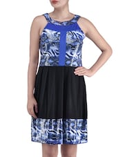 Blue Viscose Net Printed Dress - By