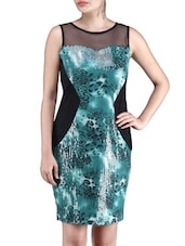 Green Viscose Net Sequined Dress - By