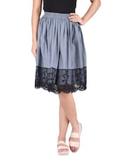 Grey And Black Polycotton Laced Skirt - By