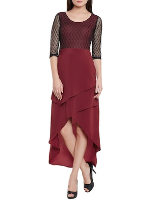 solid marsala lace assymetric dress