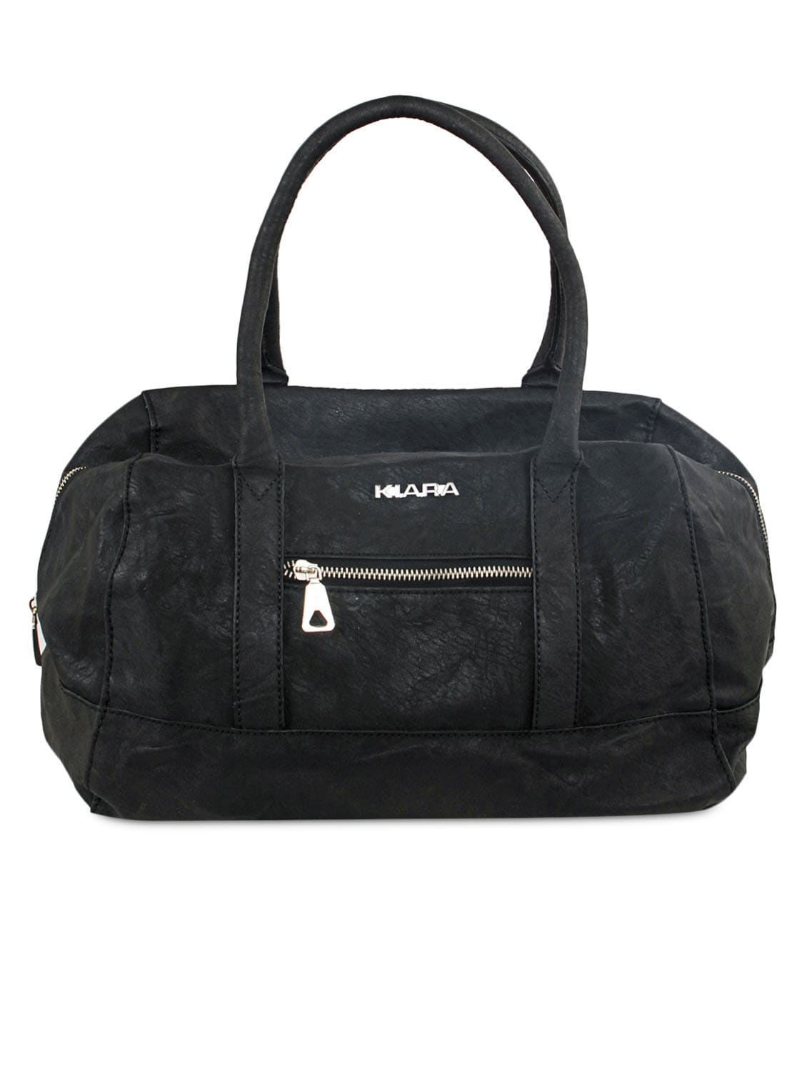 Solid Black Leatherette Tote Handbag - By