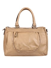 Solid Beige PU Zippered Handbag - By