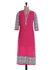 Pink Printed Quarter-sleeved Cotton Kurta - By