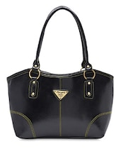 Black Faux Leather Formal Handbag - By