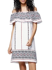 white cotton printed off shoulder dress -  online shopping for Dresses
