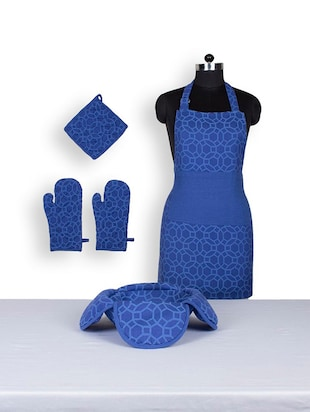 House This Jharokha Jaali 100% Cotton 1 Apron & 2 Gloves & 1 Pot Holder & 1 Bread Basket - Blue