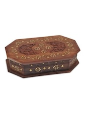 Brown Wooden Star And Flower Jewellery Box - By