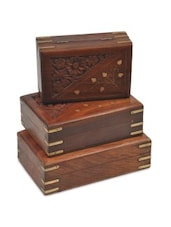 Brown Wooden Triangle Floral 3 Piece Jewellery Box - By