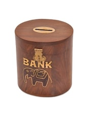 Brown Wooden Cylindrical Elephant Designed Money Bank - By