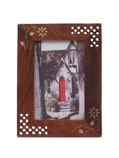 Brown Wooden Jali Floral Photo Frame - By