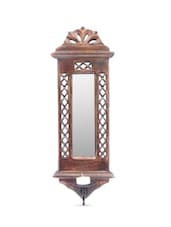 Brown Wooden Jharoka Wall Decor Cum Mirror Cum Candle Stand - By