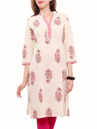 beige cotton long kurta -  online shopping for kurtas