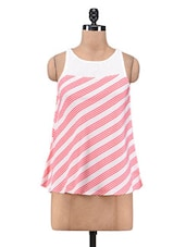 White And Pink Polyester Printed Top - By