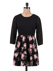 Black Polyester Floral Print Dress - By
