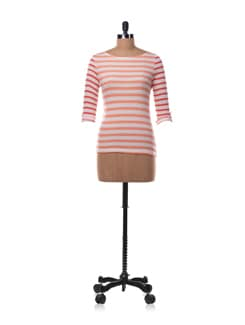 Coral And White Striped Top - Chemistry