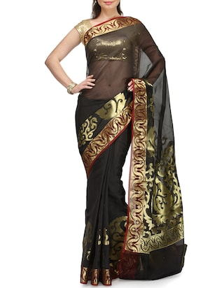 black cotton blend woven saree