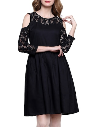 solid black viscose fit and flare dress
