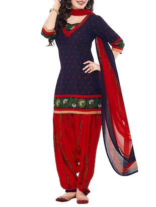 blue crepe churidaar suits unstitched suit
