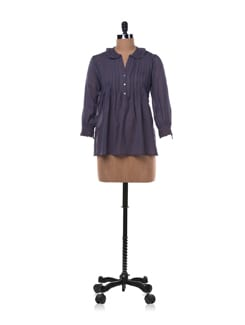 Grey Pleated Shirt With Lace Collar & Cuffs - Chemistry