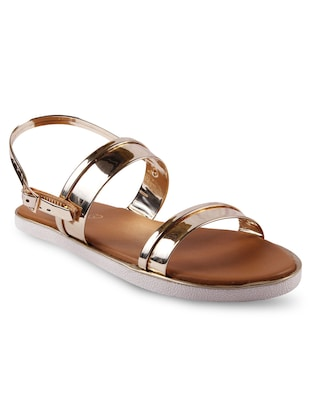 gold  faux leather  sandal