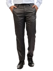 charcoal grey viscose flat front formal trouser -  online shopping for Formal Trousers
