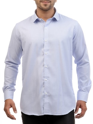 solid light blue cotton casual shirt