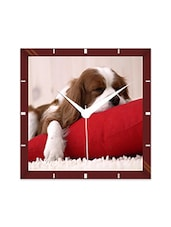 Multicolor Engineering Wood Sleeping Doggy Wall Clock - By