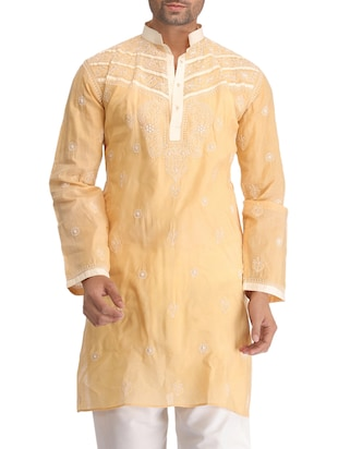 beige cotton embroidered kurta