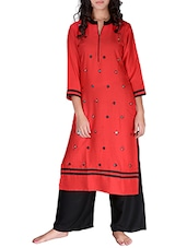 Red Rayon Long Kurta - By
