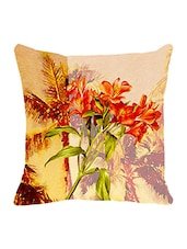 Leaf Designs Yellow Green Summer Floral Cushion Cover - By