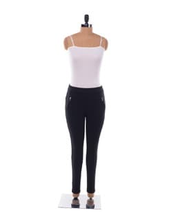Black Tapered Stretch Pants With Gold Zipper Details - Chemistry