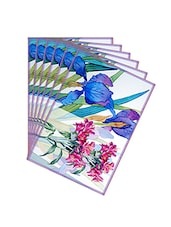 Leaf Designs Indigo & Pink Summer Floral Table Mats - Set Of 6 - By