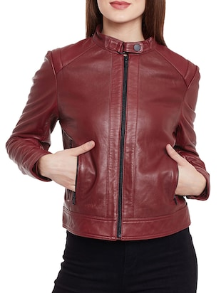 solid red leather jacket